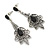 Vintage Inspired Filigree Crystal Chandelier Earrings In Aged Silver Tone - 63mm L - view 4