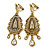Vintage Inspired Chandelier Clear Crystal Clip On Earrings In Aged Gold Tone - 65mm L