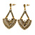 Vintage Inspired Chandelier Crystal Earrings In Aged Gold Tone - 60mm L - view 1