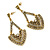 Vintage Inspired Chandelier Crystal Earrings In Aged Gold Tone - 60mm L - view 4