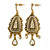 Vintage Inspired Crystal Chandelier Earrings In Aged Gold Tone - 65mm L