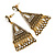Vintage Inspired Chandelier Crystal Filigree Earrings In Aged Gold Tone - 60mm L - view 4