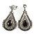 Vintage Inspired Teardrop Crystal Clip On Earrings In Aged Silver Tone - 60mm L