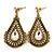 Vintage Inspired Teardrop Crystal Dangle Earrings In Aged Gold Tone - 60mm L