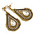 Vintage Inspired Teardrop Crystal Dangle Earrings In Aged Gold Tone - 60mm L - view 4