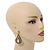 Vintage Inspired Teardrop Crystal Dangle Earrings In Aged Gold Tone - 60mm L - view 2
