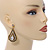 Vintage Inspired Teardrop Crystal Dangle Earrings In Aged Gold Tone - 60mm L - view 3