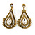 Vintage Inspired Teardrop Crystal Clip On Earrings In Aged Gold Tone - 60mm L - view 2