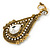 Vintage Inspired Teardrop Crystal Clip On Earrings In Aged Gold Tone - 60mm L - view 3