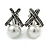 Vintage Inspired Hematite Crystal Cross Clip On Earrings with Faux Pearl In Silver Tone - 25mm L