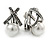 Vintage Inspired Hematite Crystal Cross Clip On Earrings with Faux Pearl In Silver Tone - 25mm L - view 2