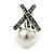 Vintage Inspired Hematite Crystal Cross Clip On Earrings with Faux Pearl In Silver Tone - 25mm L - view 3