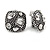 Vintage Inspired Crystal Square Stud Clip On Earrings In Aged Silver Tone - 20mm L - view 2