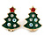 Set of 2 Red/ White/ Green Enamel Christmas Tree/ Christmas Santa Claus Stud Earrings In Gold Plating - 20mm L - view 3