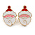 Set of 2 Red/ White/ Green Enamel Christmas Tree/ Christmas Santa Claus Stud Earrings In Gold Plating - 20mm L - view 4