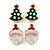 Set of 2 Red/ White/ Green Enamel Christmas Tree/ Christmas Santa Claus Stud Earrings In Gold Plating - 20mm L