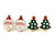 Set of 2 Red/ White/ Green Enamel Christmas Tree/ Christmas Santa Claus Stud Earrings In Gold Plating - 20mm L - view 2