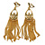 Gold Tone Long Chain Chandelier Clip On Earrings - 90mm L - view 1