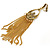 Gold Tone Long Chain Chandelier Clip On Earrings - 90mm L - view 2