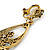 Gold Tone Long Chain Chandelier Clip On Earrings - 90mm L - view 4