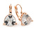 Thrillion Cut Clear CZ Drop Earrings In Rose Gold with Leverback Closure - 20mm L