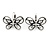 Vintage Inspired Crystal Open Butterfly Drop Earrings In Aged Silver Tone Leverback Closure - 20mm L - view 7
