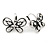 Vintage Inspired Crystal Open Butterfly Drop Earrings In Aged Silver Tone Leverback Closure - 20mm L