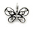 Vintage Inspired Crystal Open Butterfly Drop Earrings In Aged Silver Tone Leverback Closure - 20mm L - view 5