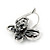 Vintage Inspired Crystal Open Butterfly Drop Earrings In Aged Silver Tone Leverback Closure - 20mm L - view 4