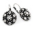 Vintage Inspired Button Shape Clear Crystal Drop Earrings In Aged Silver Metal - 27mm L - view 5