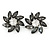 Large Grey/ Clear Crystal Daisy Stud Earrings In Silver Tone - 35mm D