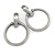 Statement Oversized Hoop Clip On Earrings In Brushed Pewter Tone Metal - 80mm L - view 2