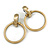 Statement Oversized Hoop Clip On Earrings In Brushed Gold Tone Metal - 80mm L