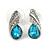 Small Azure Blue, Clear Crystal Teardrop Stud Earrings In Silver Tone Metal - 18mm Tall