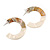 40mm Trendy Tortoise Shell Effect/ Off White Marble Acrylic/ Plastic/ Resin Half Hoop, Geometric Earrings with Silver Tone Closure