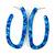 Trendy Marble Effect Blue Acrylic/ Plastic/ Resin Oval Hoop Earrings - 60mm L