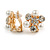 Crystal, Faux Pearl Flower Clip On Earrings In Gold Tone - 20mm D - view 2