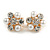 Crystal, Faux Pearl Flower Clip On Earrings In Gold Tone - 20mm D - view 3