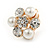 Crystal, Faux Pearl Flower Clip On Earrings In Gold Tone - 20mm D - view 5