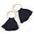 Trendy Dark Blue Cotton Tassel Gold Tone Hoop Earrings - 65mm Long