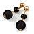 Black Double Ball Drop Earrings In Gold Tone - 55mm L