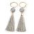 Long Light Grey Cotton Ball and Tassel Hoop Earrings In Gold Tone Metal - 12.5cm L
