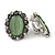 Vintage Inspired Asparagus Green Glass Oval Clip On Earrings In Antique Silver Tone - 25mm Tall - view 2