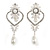 Bridal/ Wedding Stunning Clear Crystal/ CZ Faux Pearl Chandelier Clip On Earrings In Silver Plating - 55mm L