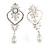 Bridal/ Wedding Stunning Clear Crystal/ CZ Faux Pearl Chandelier Clip On Earrings In Silver Plating - 55mm L - view 8