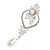 Bridal/ Wedding Stunning Clear Crystal/ CZ Faux Pearl Chandelier Clip On Earrings In Silver Plating - 55mm L - view 9