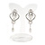 Bridal/ Wedding Stunning Clear Crystal/ CZ Faux Pearl Chandelier Clip On Earrings In Silver Plating - 55mm L - view 6
