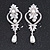 Bridal/ Wedding Stunning Clear Crystal/ CZ Faux Pearl Chandelier Clip On Earrings In Silver Plating - 55mm L - view 2