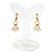 Gold Plated Half Hoop with Dangling Faux Pearl Bead Clip On Earrings - 30mm Tall - view 4