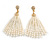 Stunning Faux Glass Pearl Tassel Clear Crystal Dangle Clip On Earrings In Gold Plated Finish - 65mm Long - view 5